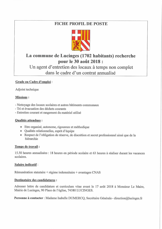 Offre D Emploi Agent D Entretien Mairie De Lucinges 74